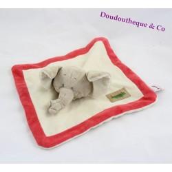 Doudou plat élephant BENGY collection Jungle 23x23cm