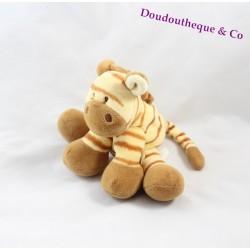 Doudou zèbre NOUKIE'S petit modèle rayé marron beige 20 cm