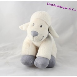 Doudou mouton NICOTOY blanc bleu assis 21 cm