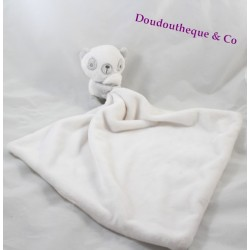 Doudou mouchoir panda blanc gris grand carré doudou 49 cm