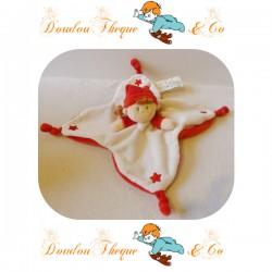 Doudou plat Lutin Fille NICOTOY étoile blanc et rouge grelot  20 cm