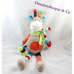 Peluche vache girafe Zoe NICOTOY SIMBA DICKIE longues jambes pantin gris rond multicolore