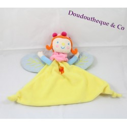 Doudou Fée Katherine Roumanoff jaune marionnette fleur