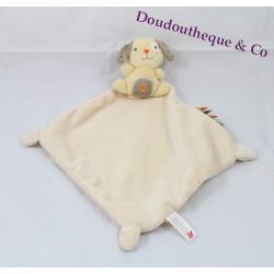 Flat Doudou Dog NICOTOY beige grey labels