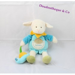 Plush sheep Simon DOUDOU and COMPAGNIE snail blue yellow
