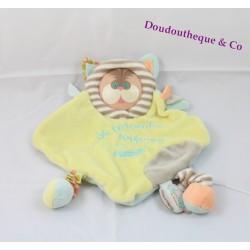 Doudou plat Chat jaune Les Bouilles de DOUDOU ET COMPAGNIE 22 cm