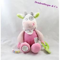 Doudou d'activité vache MOTS D'ENFANTS rose miroir 26 cm