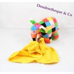 Peluche Elephant ELMER mouchoir jaune