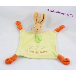 Doudou flat rabbit Teddy bear to bed the yellow ninnin orange 4 knots
