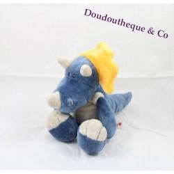 Peluche doudou Dinosaure bleu et jaune NICI 30cm