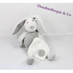 Peluche Lapin gris mouchoir blanc BABY NAT' 24 cm attache tétine