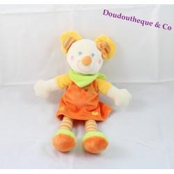 Doudou peluche Souris MOTS D'ENFANTS robe orange 34 cm
