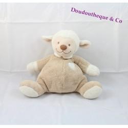 Doudou Noa mouton NATTOU beige coeur blanc 26 cm