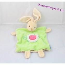 Doudou flat puppet rabbit turtle green KALOO 26 cm
