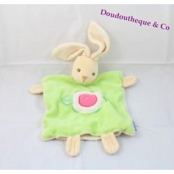 Doudou plat marionnette lapin KALOO vert tortue 26 cm