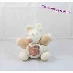 Peluche souris KALOO feuille nature beige et blanc 18 cm