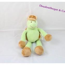 Doudou tortue KIMBALOO verte chapeau marron 25 cm