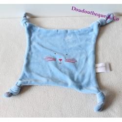 Doudou plat chat ABSORBA bleu rayures carré 4 noeuds 20 cm