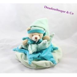 Doudou ours DOUDOU ET COMPAGNIE Carambole bleu vert 30 cm