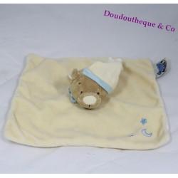 Doudou plat ours NOUKIE'S beige lune étoile bleu