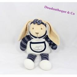 Doudou lapin DOUDOU ET COMPAGNIE bandeau noeud bleu blanc