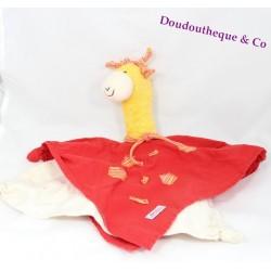 Doudou plat girafe KÄTHE KRUSE jaune rouge 39 cm
