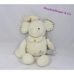 Peluche Elephant TIAMO blanc sonore 25 cm