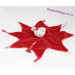 Doudou plat souris TAPE A L'OEIL étoile rouge blanc