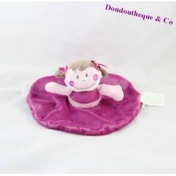 Doudou plat poupée KIMBALOO rond violet 20 cm