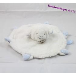 Doudou plat agneau DOUDOU ET COMPAGNIE mouton Mon tout petit blanc bleu