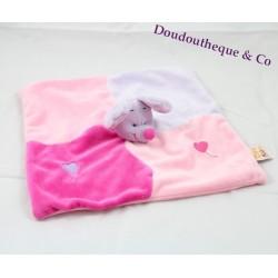 Doudou plat Souris DOUKIDOU violette et rose coeur