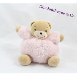 Doudou boule ours KALOO Fur Fourrure rose 15 cm