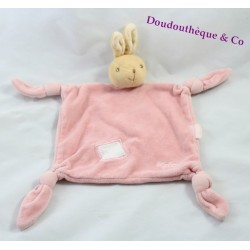 Doudou rabbit flat KALOO Lilirose rose 4 knots back Velvet