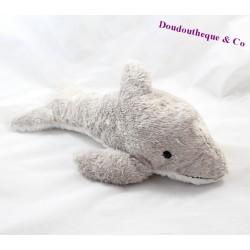 Peluche dauphin MARINELAND gris blanc poils long 35 cm