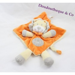 Doudou plat lion NICOTOY orange et gris