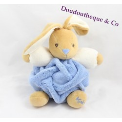 Doudou Lapin KALOO collection Plume bleu indigo boule 20 cm