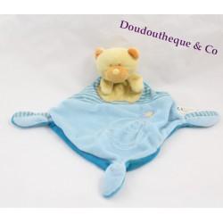 Doudou plat ours losange VETIR bleu abeille noeuds