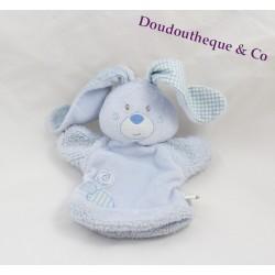 Doudou lapin BERLINGOT marionnette bleu 19 cm
