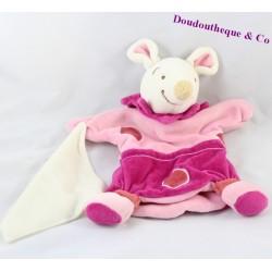 Doudou marionnette souris DOUDOU ET COMPAGNIE mouchoir rose 25 cm