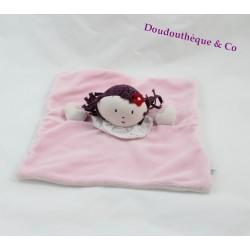 Doudou plat Bertille poupée JACADI rose fleur rouge carré 24 cm