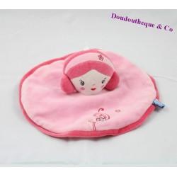 Doudou plat poupée SUCRE D'ORGE fille rose fleur 21 cm