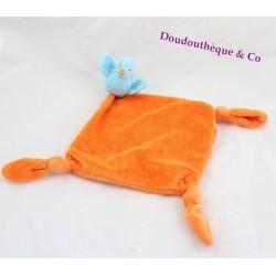 Doudou flat bird CARREBLANC orange blue 39 cm