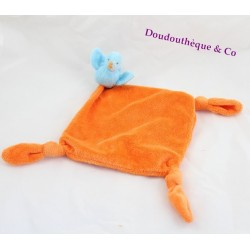 Doudou plat oiseau CARREBLANC  orange bleu 39 cm