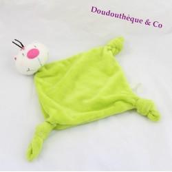 Doudou flat cat CARREBLANC green diamond 37 cm 3 knots