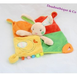Doudou rabbit flat AUCHAN square multicolor teething ring