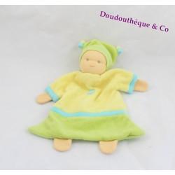 Doudou poupée plat PEPPA vert et jaune 25 cm