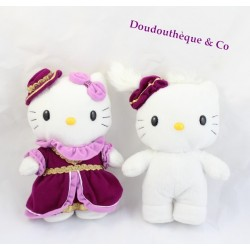 Lot de 2 peluches Hello Kitty Médiéval couple garçon fille