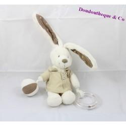 Doudou d'activité lapin POMMETTE blanc et marron 20cm