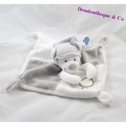 Doudou plat ours MOTS D'ENFANTS blanc et gris 21 x 21 cm