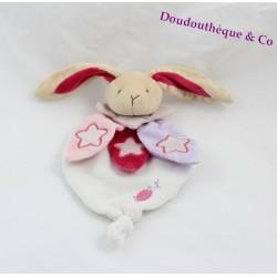 Doudou plat Lapin BABY NAT' rose blanc violet étoile luminescent brille dans le noir 23 cm